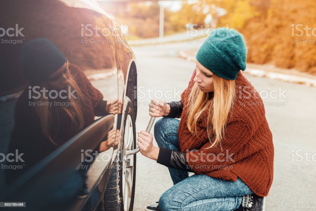 Problem with a car. A broken car on the road. Changing wheel stock photo