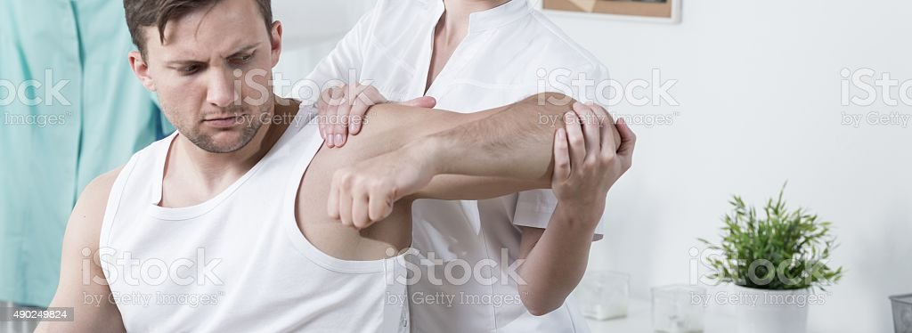Problem with arm stock photo