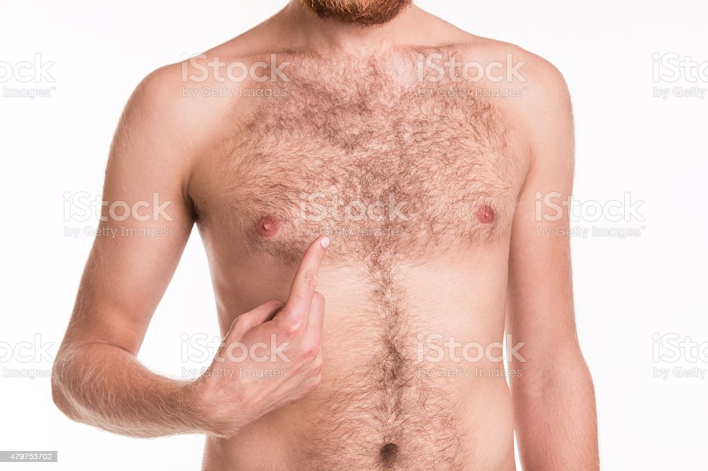 Problem with the hair on your chest stock photo