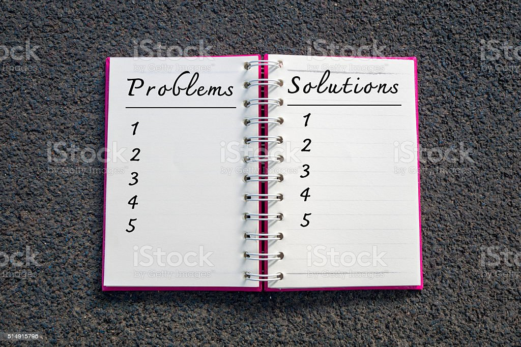 Problems and solutions list in white notebook. Business Concept. stock photo
