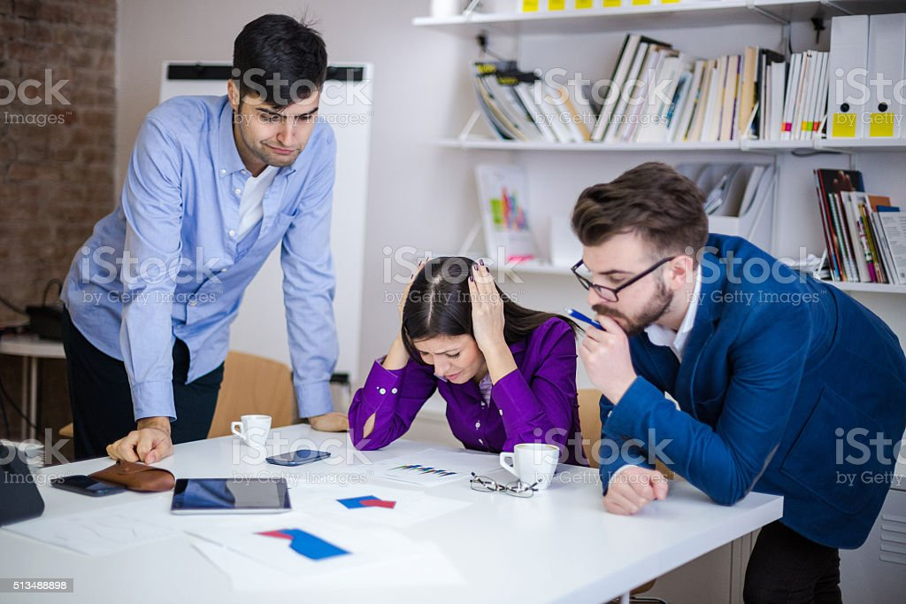 Problems at the office stock photo