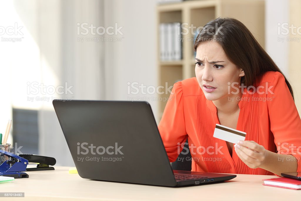 Problems buying online with credit card stock photo