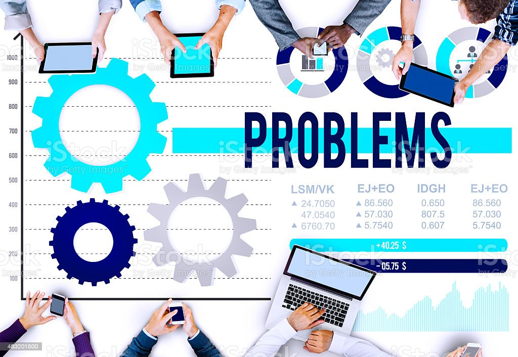 Problems Difficulty Mistake Negative Solution Solving Concept stock photo