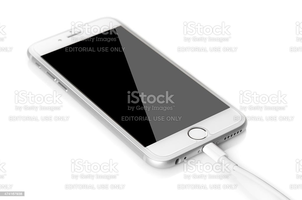 Problems in charging the Iphone stock photo
