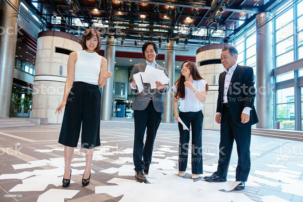 Problems in corporate multi-national Asian company stock photo