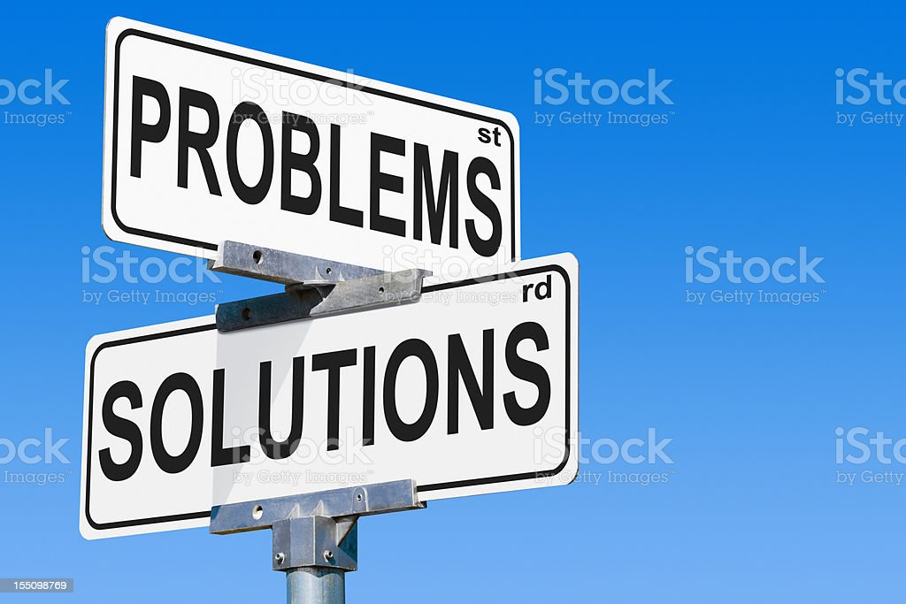 Problems Solutions Street Sign royalty-free stock photo