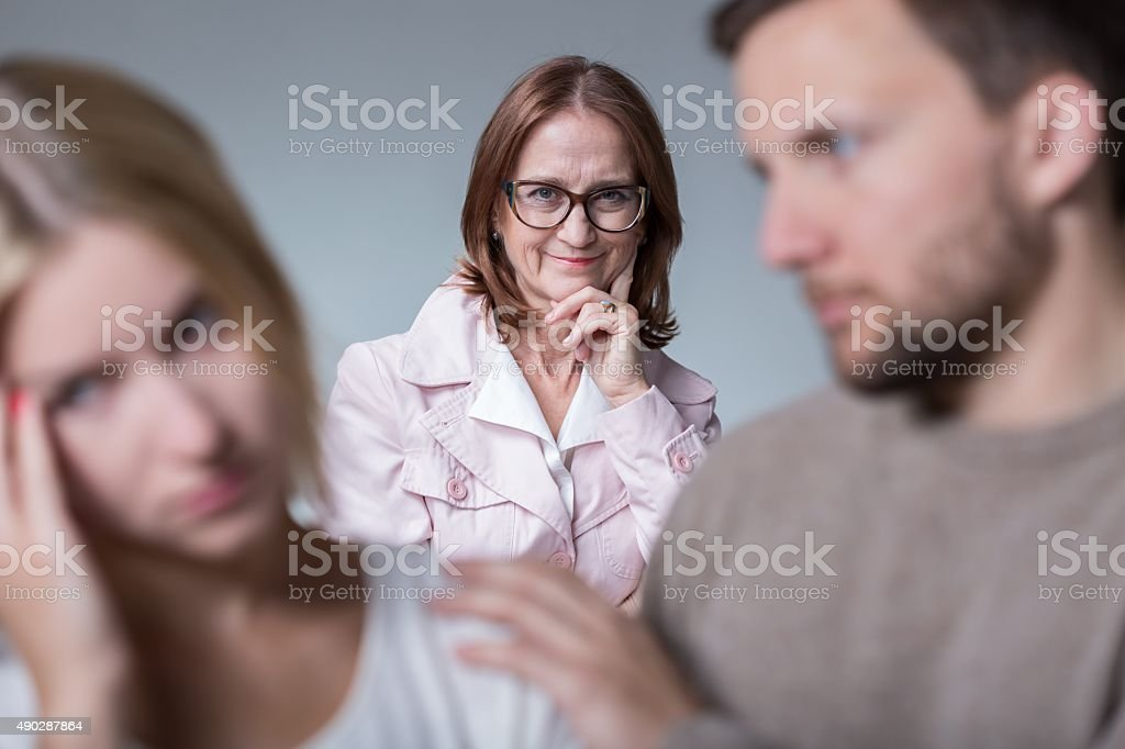 Problems with mother-in-law stock photo