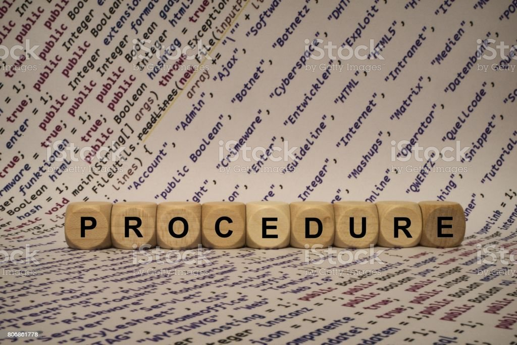 procedure - cube with letters and words from the computer, software, internet categories, wooden cubes stock photo