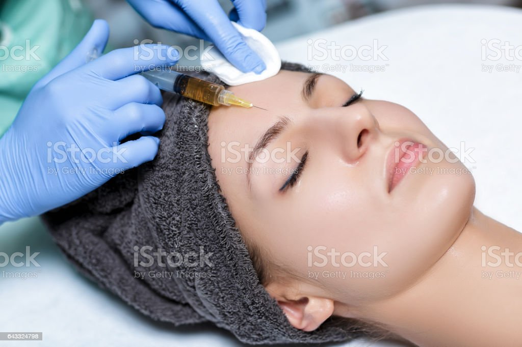 procedure Plasmolifting injection. plasma injection into skin o stock photo