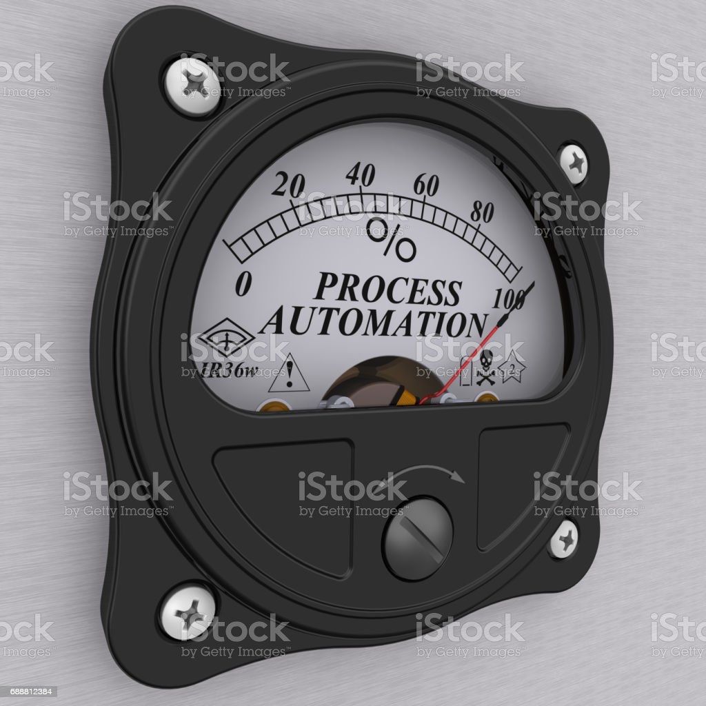 Process automation. The percent of implementation stock photo