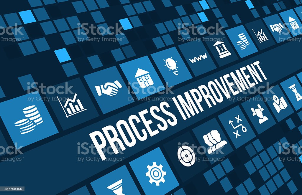 process improvement concept image with business icons and copyspace. stock photo