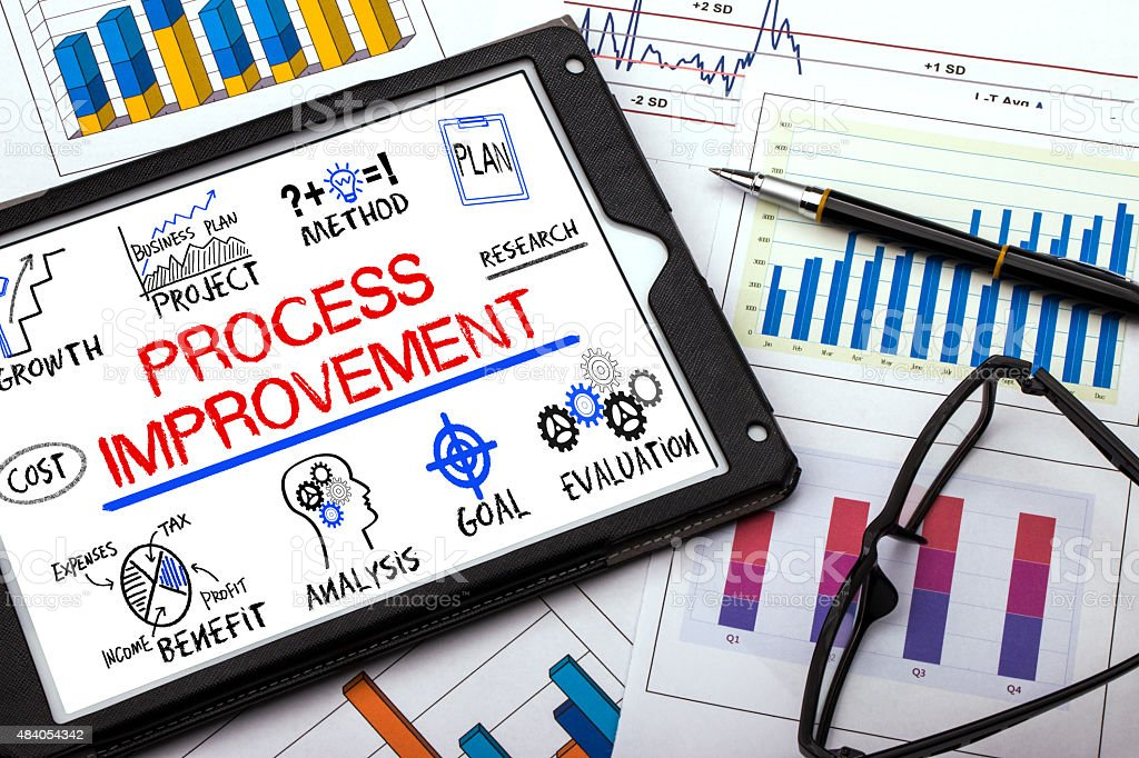 process improvement concept with business elements stock photo