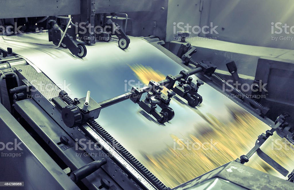 process in a modern printing house stock photo