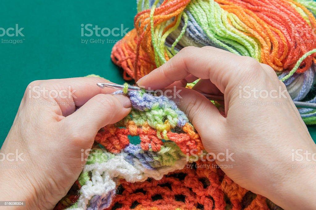 Process of knitting stock photo