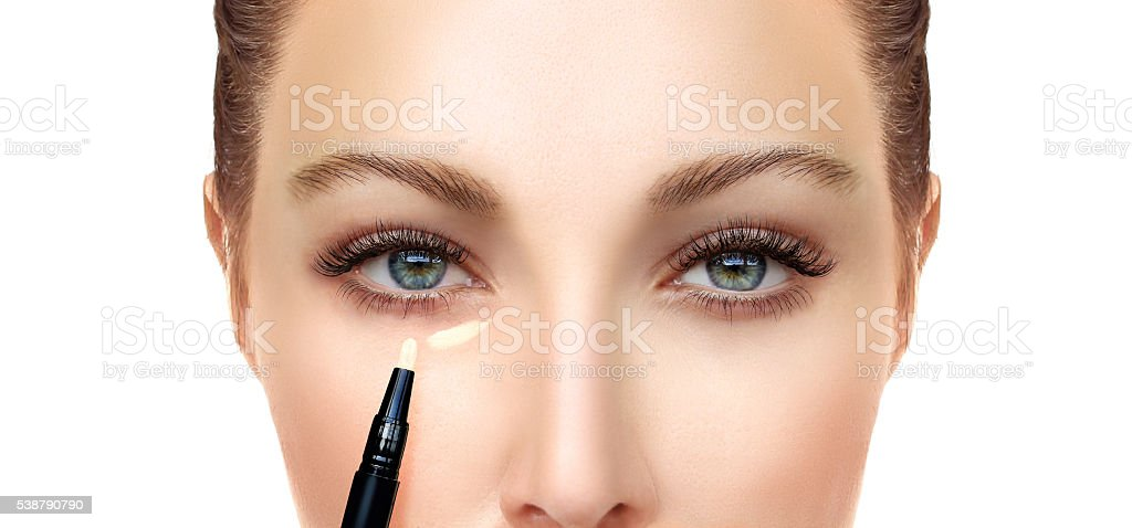 Process of make up.Concealer. stock photo