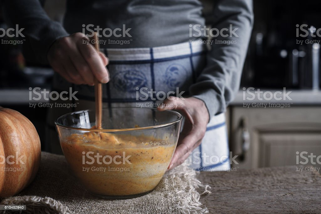 Process of making dough for dump cake in glass bowl stock photo