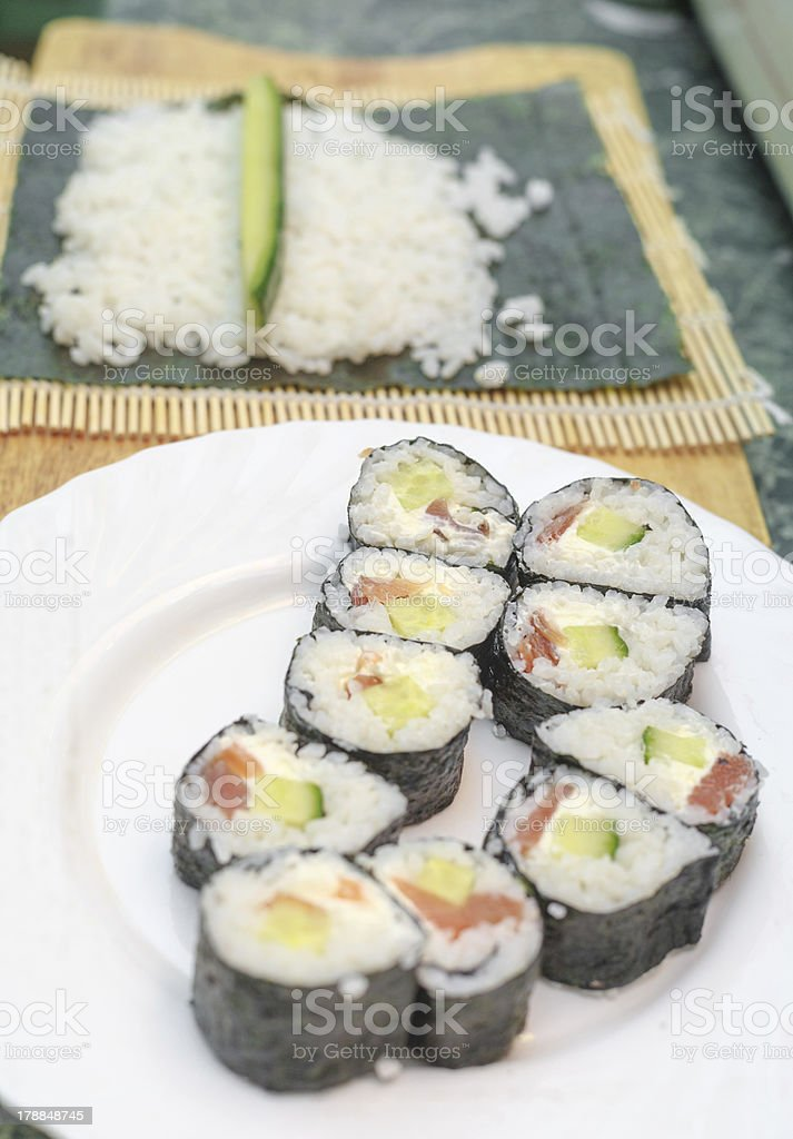 process of making sushi royalty-free stock photo