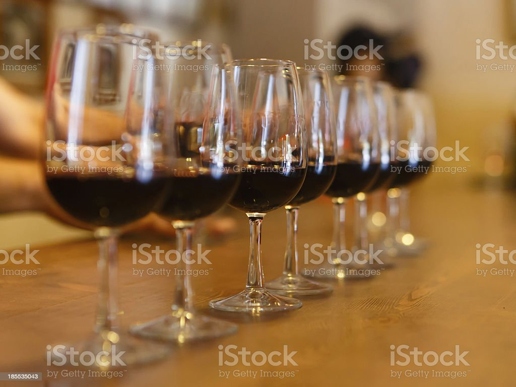 Process of tasting red wine stock photo