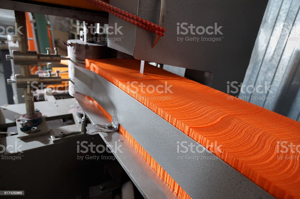 Process of various paper products manufacturing stock photo