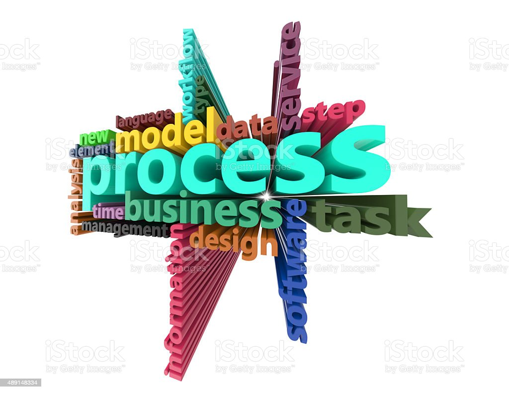 Process,business,data,information,task 3d word concept stock photo