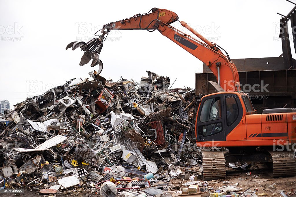 Processing industrial trash stock photo