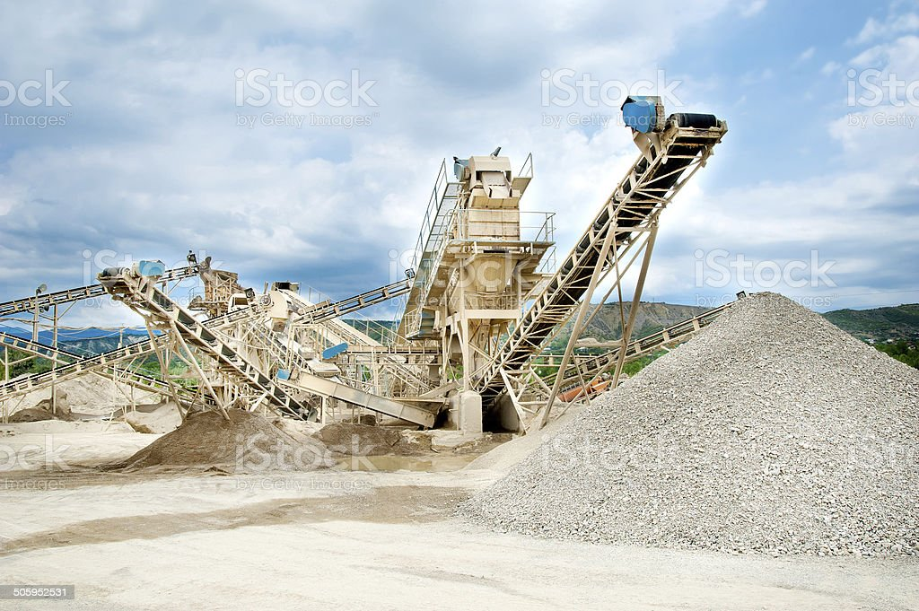 processing plant stones stock photo