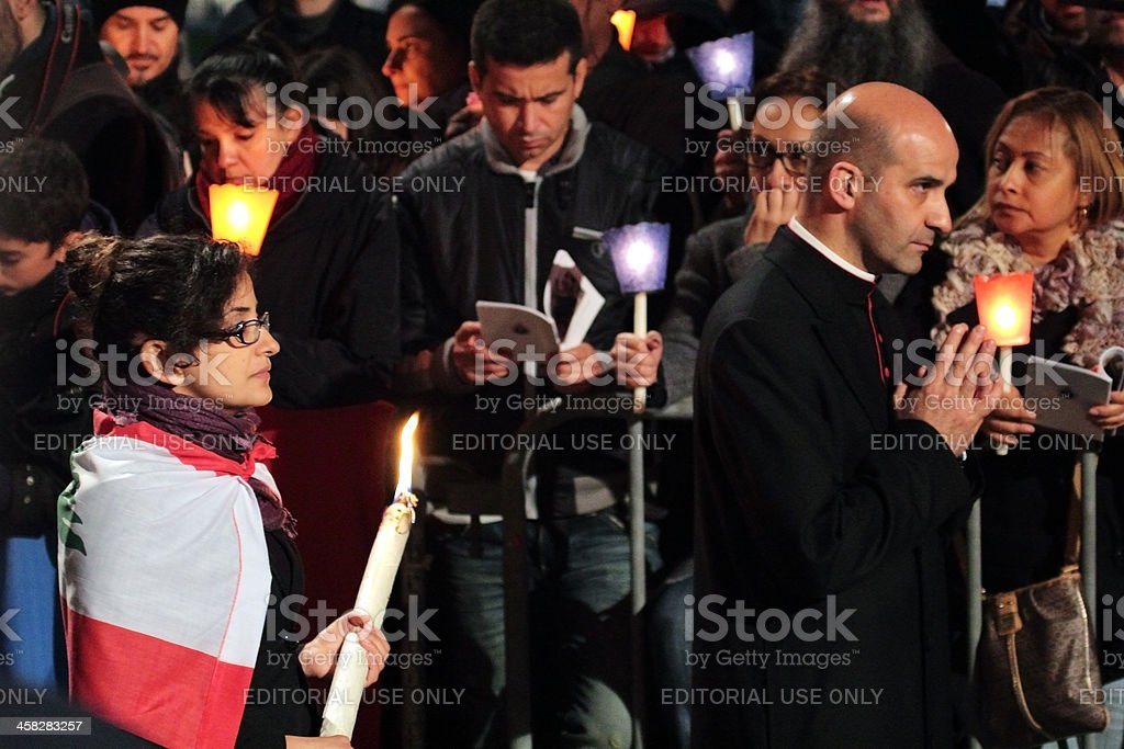 Procession during Stations of the Cross chaired by Pope Francis royalty-free stock photo