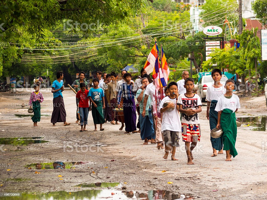 Procession in Mandalay, Myanmar stock photo