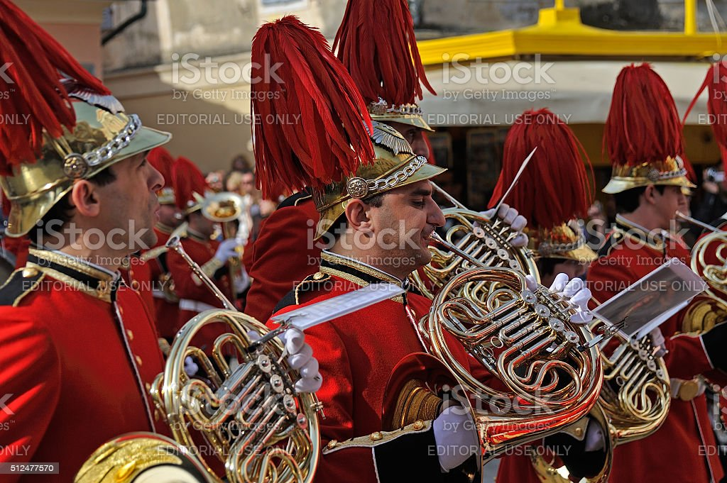 Procession of musicians at Easter in Corfu stock photo