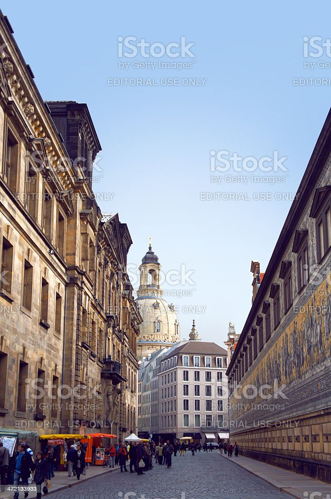 Procession of Princes wall and Frauenkirche church stock photo