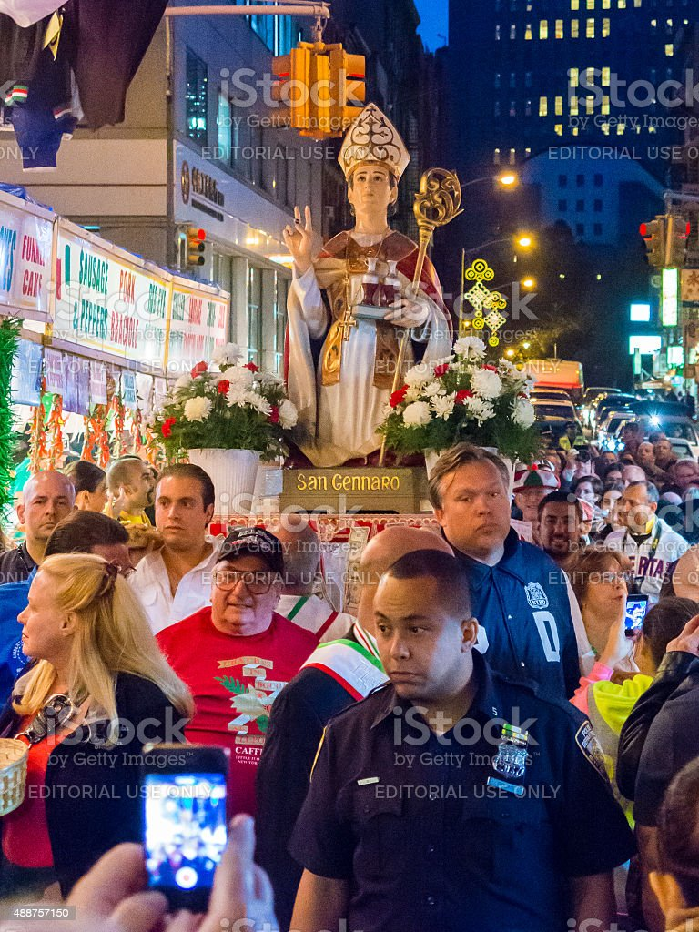 Procession of San Gennaro passes along Mulberry Street stock photo