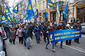 Procession of supporters of the nationalist party 'Svoboda'.Kiev, Ukraine
