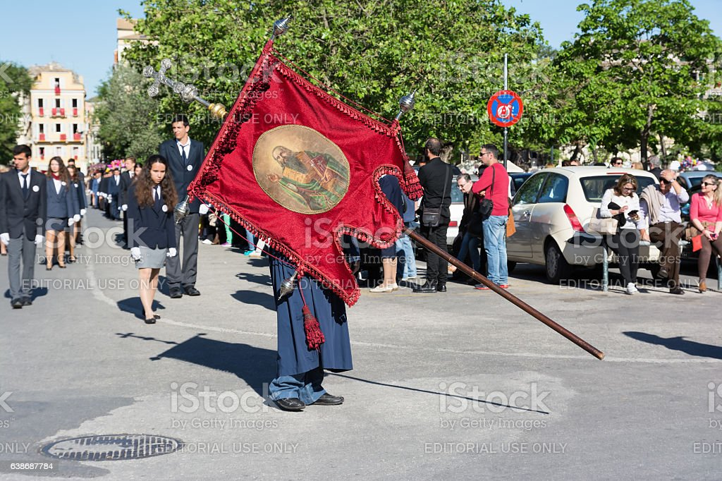Procession of the holy body of St. Spyridon, Corfu, Greece. stock photo