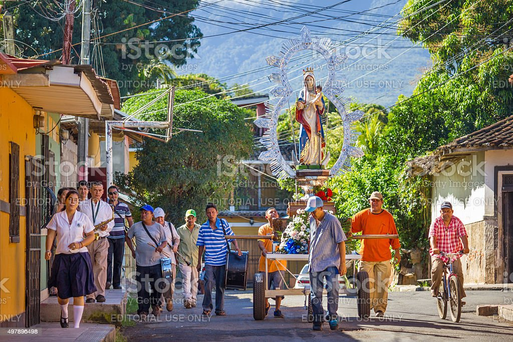 Procession of the Virgin Granada Nicaragua stock photo
