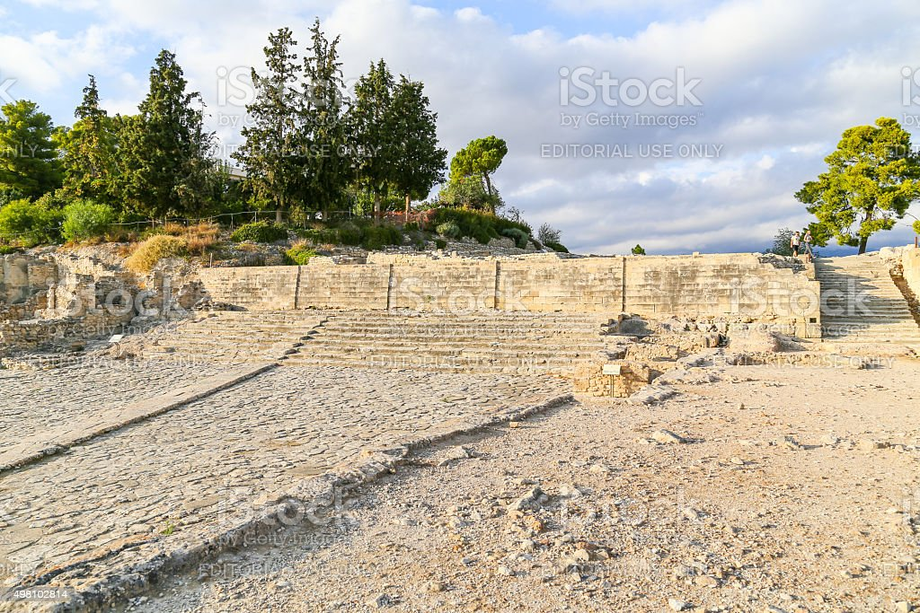 Processional walkway in Phaistos stock photo