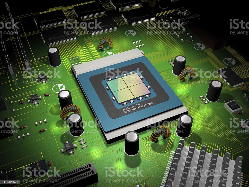 Processor and Computer Board 3D royalty-free stock photo