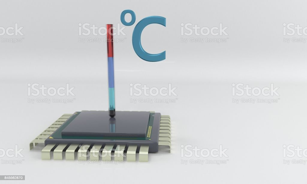 Processor temperature, 3d stock photo