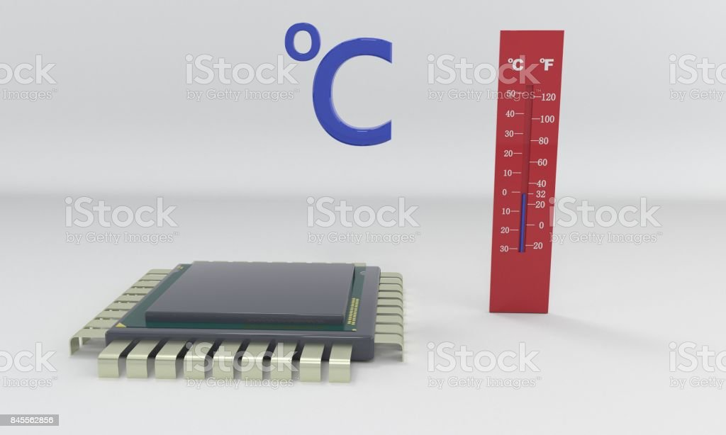 Processor thermometer, 3d stock photo