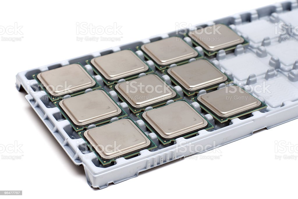Processors on a substrate royalty-free stock photo