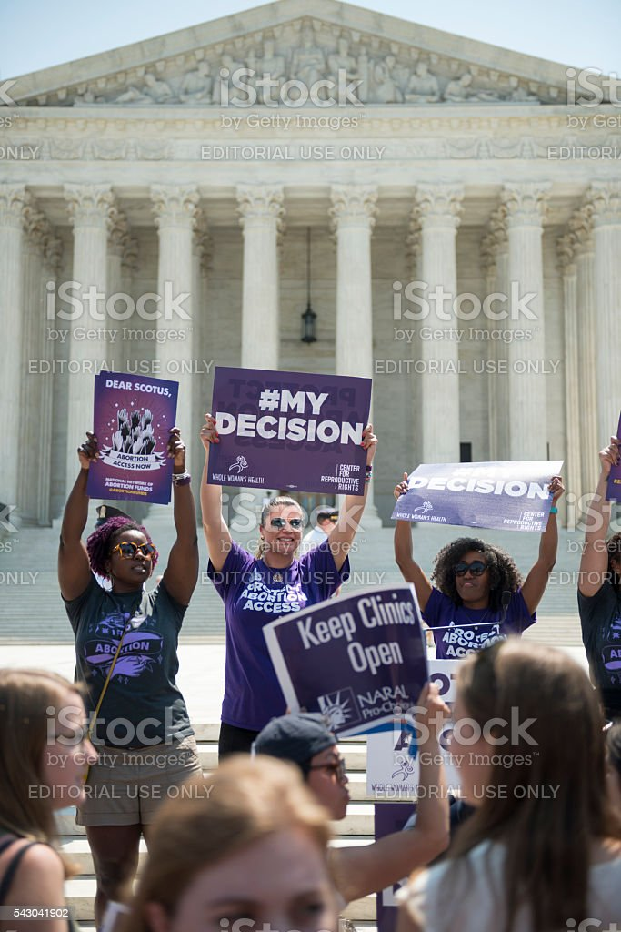 Pro-choice supporters cheering at U.S. Supreme Court stock photo