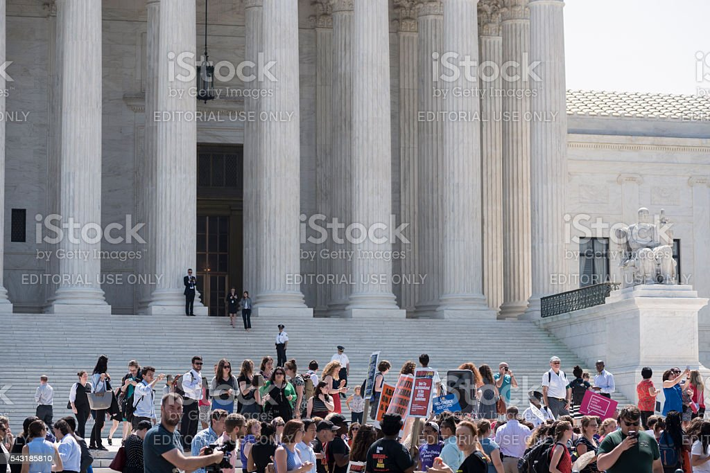 Pro-choice supporters outside the U.S. Supreme Court stock photo