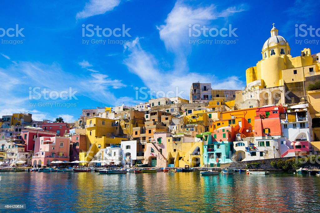Procida, colorful island in the Mediterranean Sea Coast, Naples, Italy stock photo