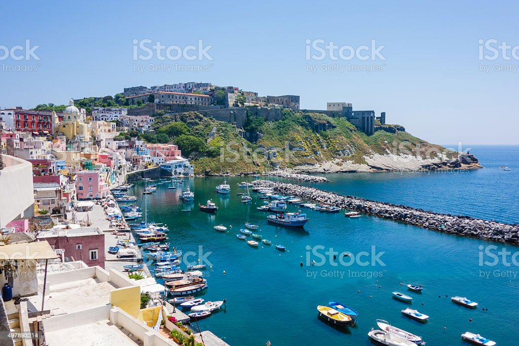 Procida, Fisherman's Village 'La Corricella', Bay of Naples, Ita stock photo