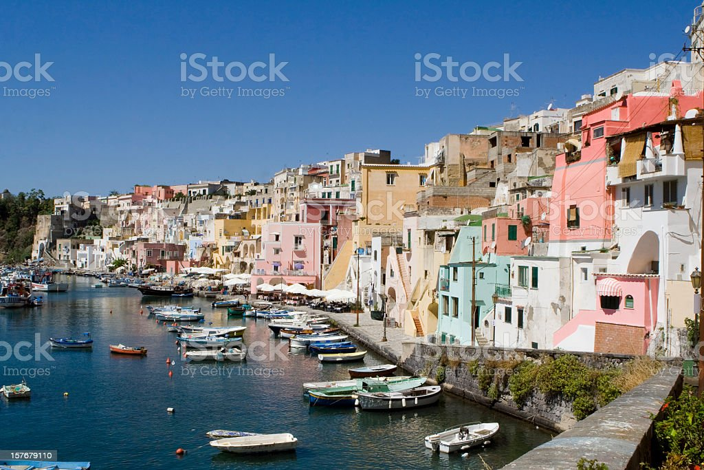Procida, Fisherman's Village 'La Corricella', Bay of Naples, Italy stock photo