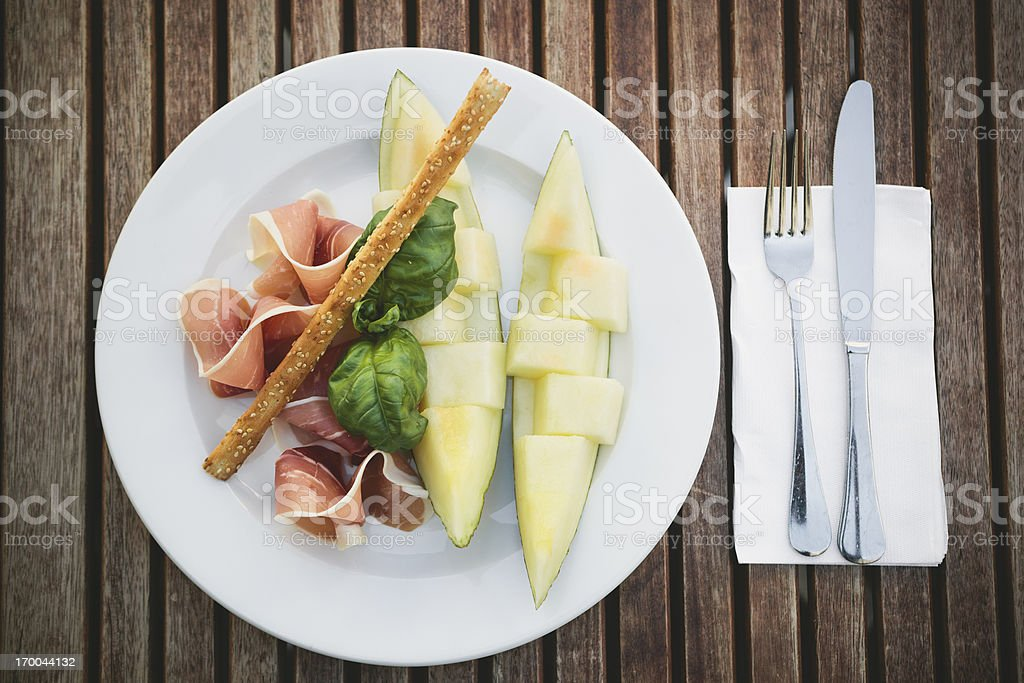 Prociutto with Melon royalty-free stock photo