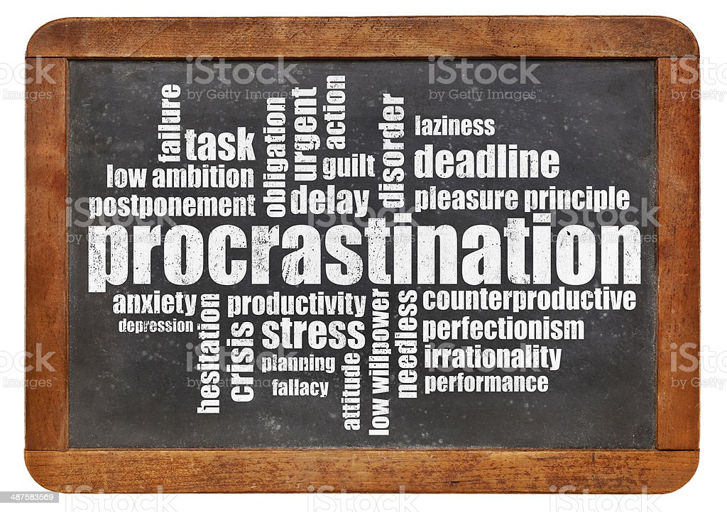 procrastination word cloud stock photo