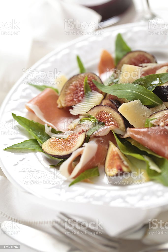 Procsiutto and figs salad. royalty-free stock photo