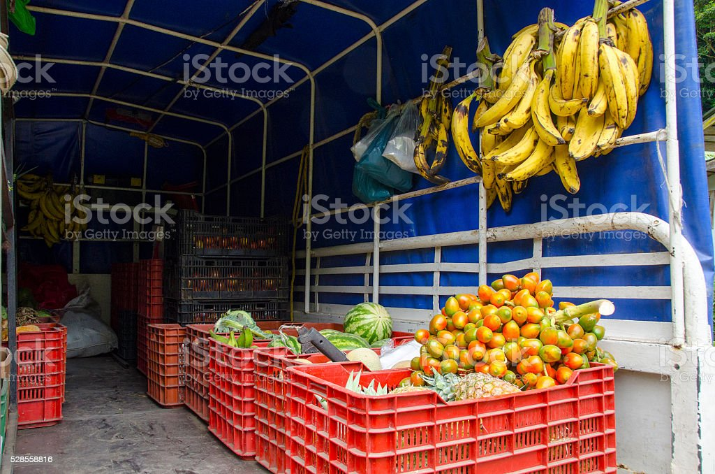 produce delivery van in Costa Rica stock photo