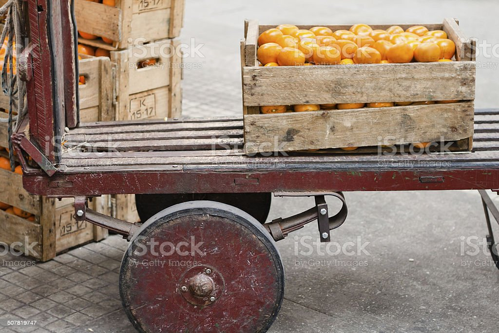 Produce Dolly at the Farmers' Market stock photo