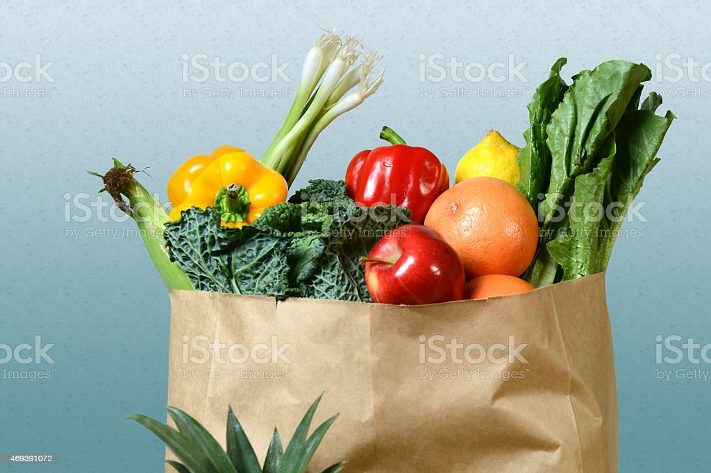 Produce in Grocery Bag stock photo
